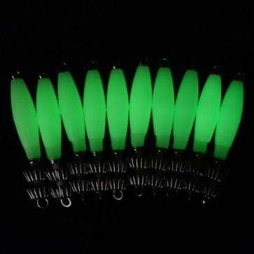 10X GLOW 10CM 14g Squid Jigs Hard Body plastic Body 2 Razor Hooks