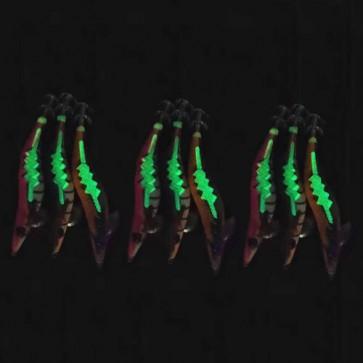 9x size 3.5 YAMASHITA Glow in Dark Rattle Squid JIgs Squid Egi Shrimp jigs