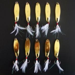 10X Kastmaster Style 3/4 oz GOLD Fishing Spoon, great for Trout,Bass Konoaknne