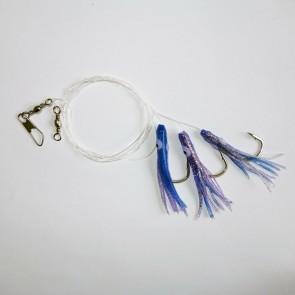 Sabiki Rigs Soft Baits Fishing Lures squid skirt 4/0 Hook[Blue]